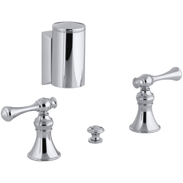 Revival Below-The-Rim Horizontal Swivel Spray Bidet Faucet with Traditional Lever Handles by Kohler