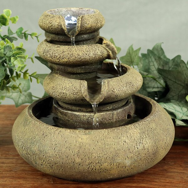 Resin 3 Tier Flowing Tabletop Fountain with LED Light by Wildon Home ®