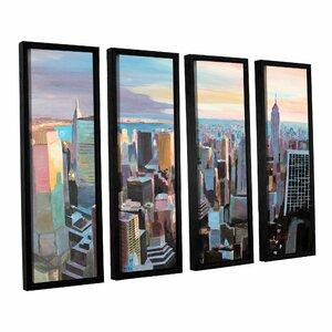 New York City Skyline In Sunlight by Marcus/Martina Bleichner 4 Piece Framed Painting Print on Canvas Set by ArtWall