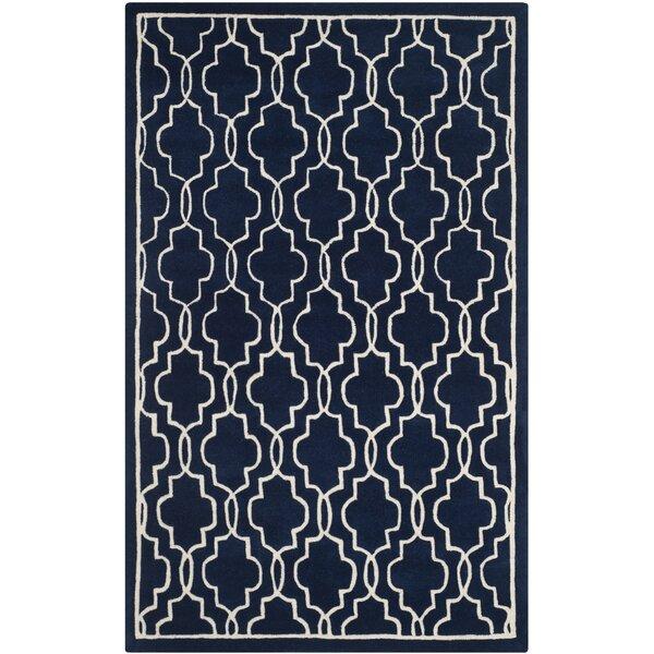Wilkin Hand-Woven Dark Blue/Ivory Area Rug by Wrought Studio