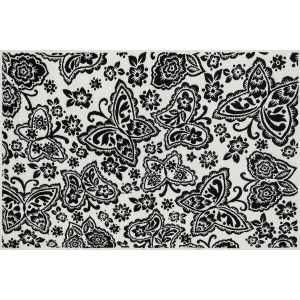 Stacy Ivory/Black Area Rug by Harriet Bee