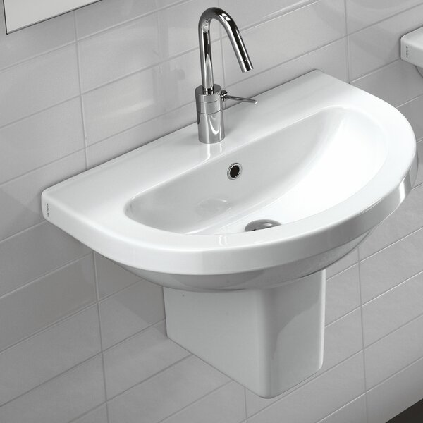 Pro Vitreous China 25 Wall Mount Bathroom Sink with Overflow by Bissonnet