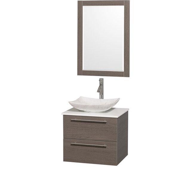 Amare 24 Single Gray Oak Bathroom Vanity Set with Mirror by Wyndham Collection
