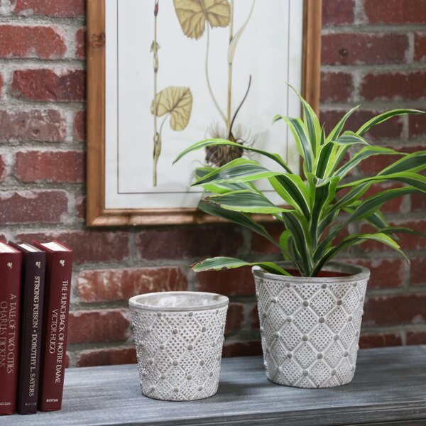 Kewstoke Round Lattice 2-Piece Cement Pot Planter Set by Ophelia & Co.