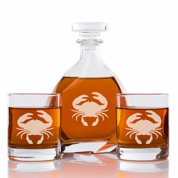 Palanga Crab Engraved 3 Piece Beverage Serving Set by Rosecliff Heights