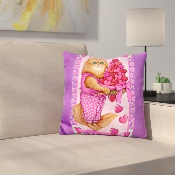 Persian Cat Bowl of Hearts Throw Pillow by East Urban Home