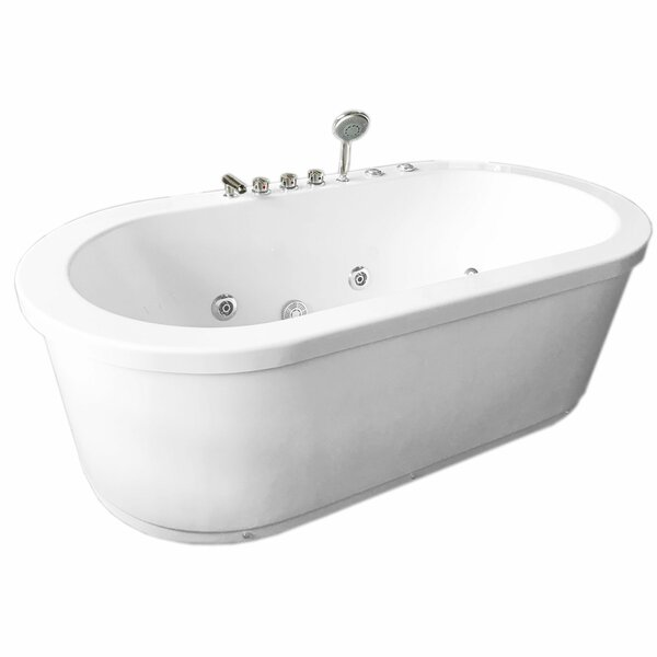 Rio Double Pump 16 Nozzle Hot Hydrotherapy 73 x 37.5 Freestanding Whirlpool Bathtub by Simba USA Inc