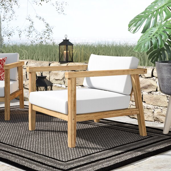 Edmeston Outdoor Teak Chair With Cushions By Bayou Breeze