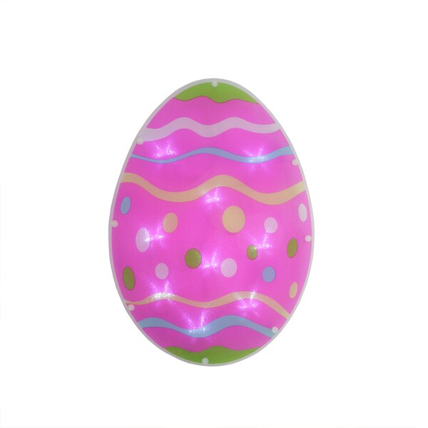 B/O LED Lighted Easter Egg Spring Window Silhouette Decoration with Timer by Sienna Lighting
