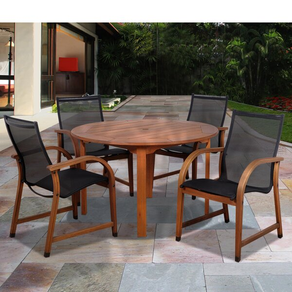 Trost International Home Outdoor 5 Piece Dining Set by Highland Dunes