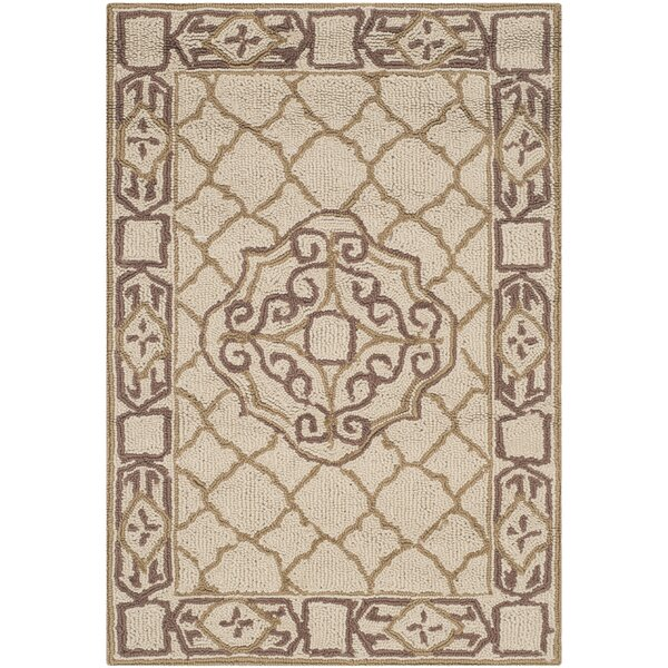 Apache Hand-Hooked Ivory & Gold Area Rug by Andover Mills