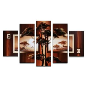 Safari Acacia Tree' 5 Piece Painting on Canvas Set by World Menagerie