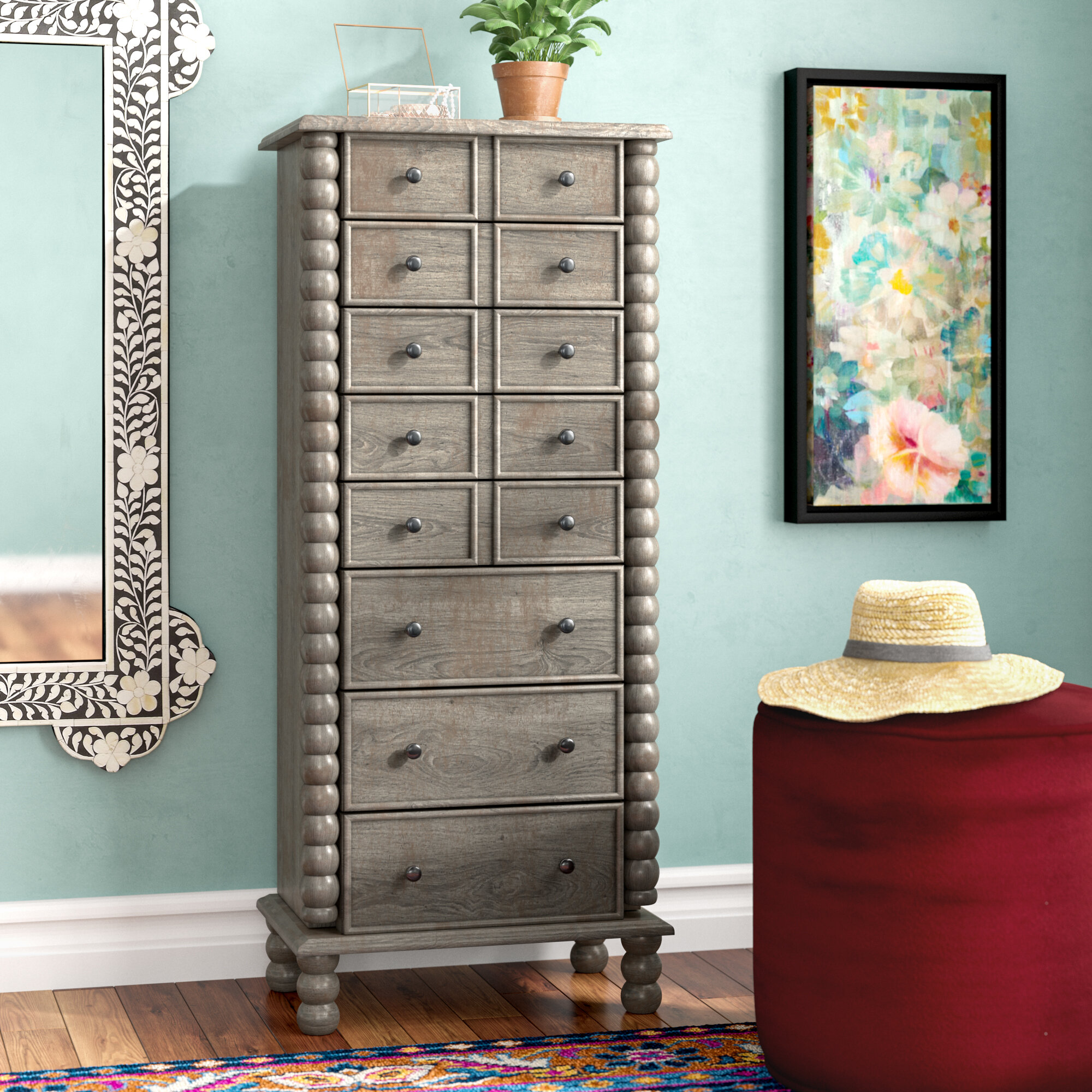 World Menagerie Naniouni Free Standing Jewelry Armoire With Mirror &