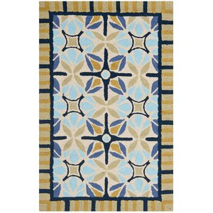 Doyle Tan/Blue Indoor/Outdoor Area Rug