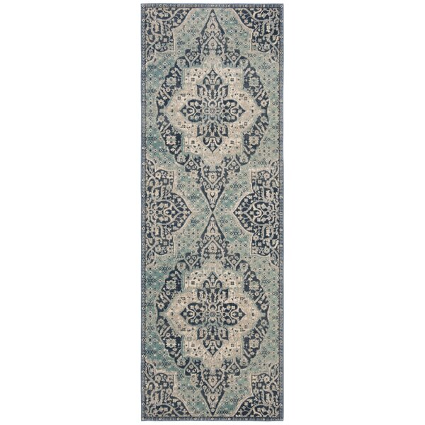 Doucet Navy/Aqua Area Rug by Bungalow Rose
