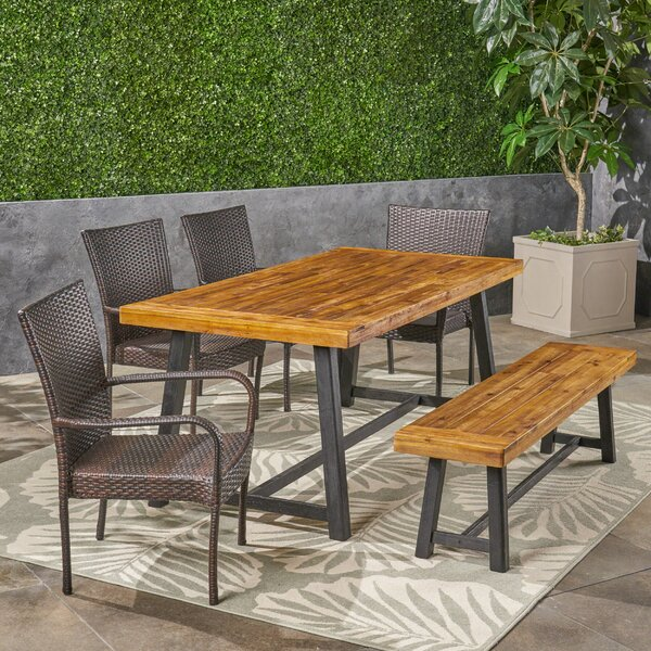 Maud 6 Piece Teak Dining Set by 17 Stories