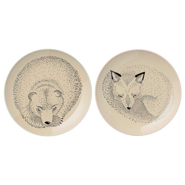 Lorraine 6.5 Ceramic Bear and Fox Plate 2 Piece Set by Viv + Rae