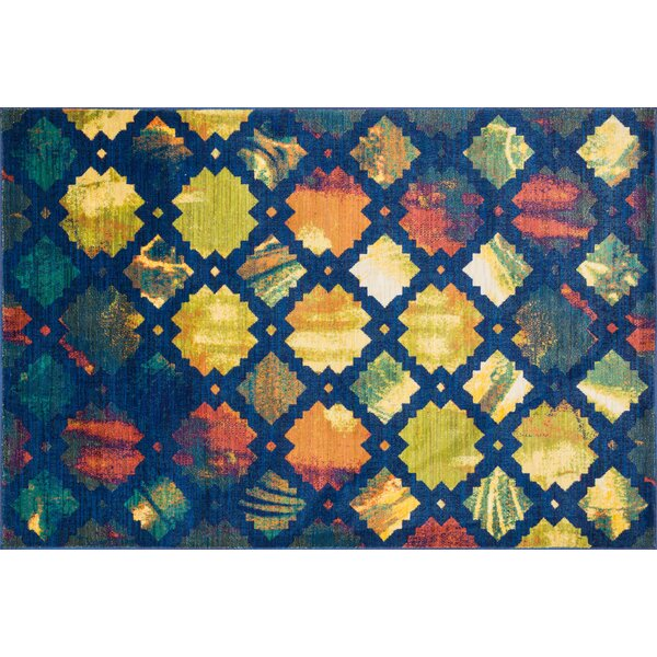 Thoi Blue/Yellow Area Rug by Ebern Designs