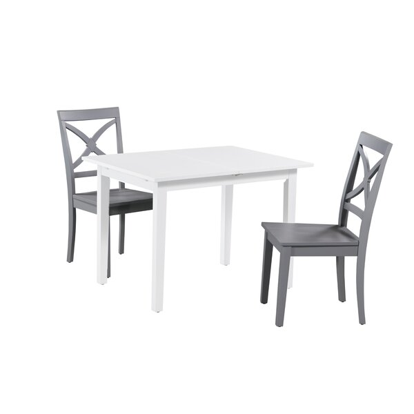 Deford 3 Piece Extendable Solid Wood Dining Set by Highland Dunes