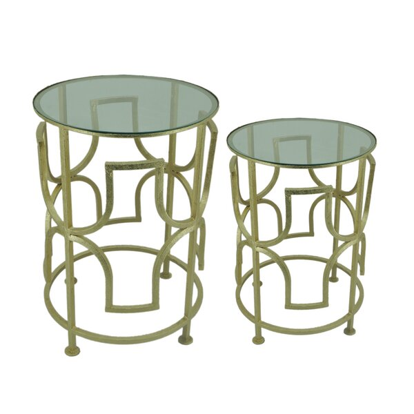Achille 2 Piece End Table Set by Everly Quinn Everly Quinn