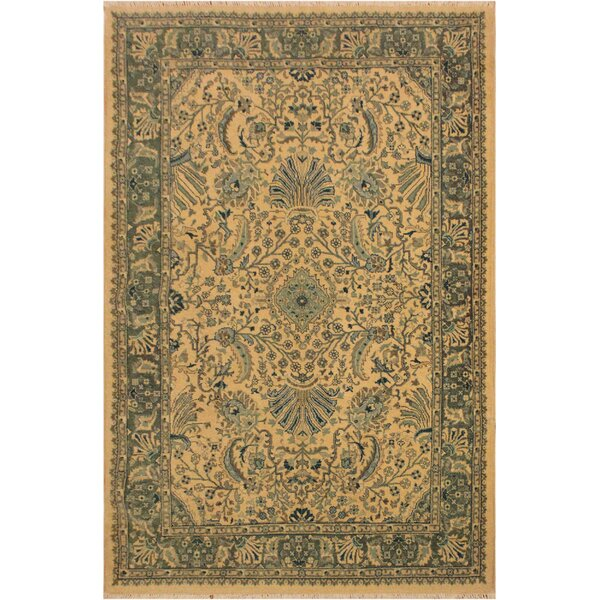 One-of-a-Kind Abagail Turkish Hand-Knotted Wool Ivory/Light Green Area Rug by Isabelline