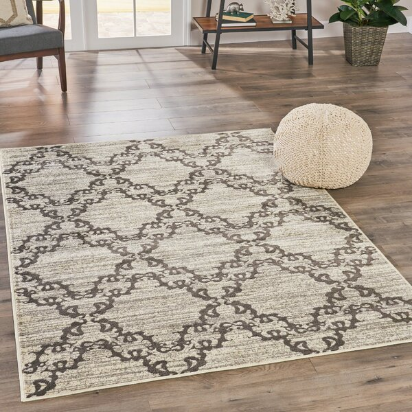 Oakhaven Floral Ivory Area Rug by Charlton Home