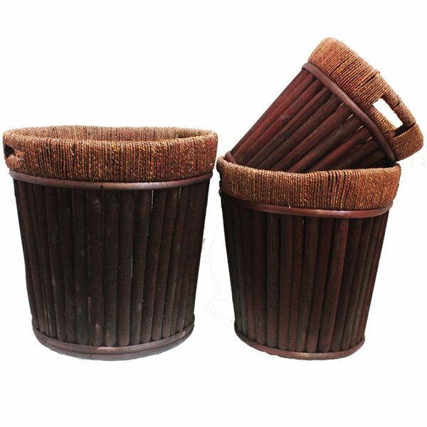 Crocker Resplendent Willow 3-Piece Wood Pot Planter Set by World Menagerie