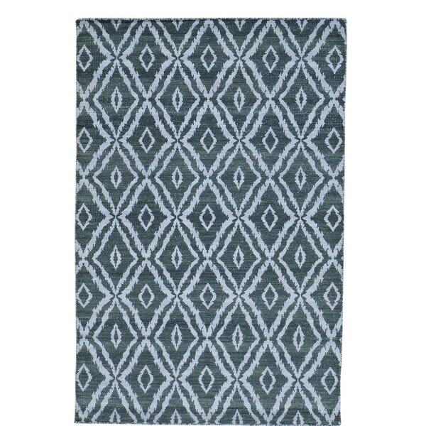 Flat Weave Kilim Reversible Hand-Knotted Dark Green Area Rug by Bloomsbury Market
