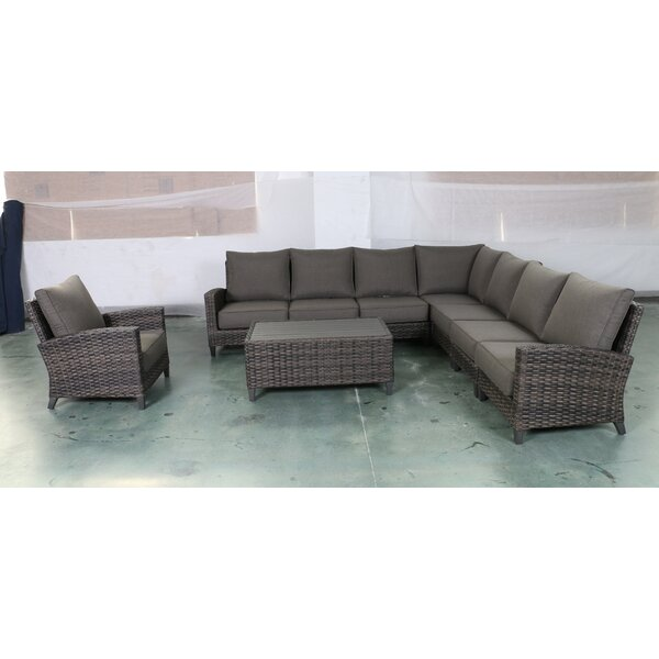 Rebeca 9 Piece Sectional Seating Group with Cushions by Bayou Breeze Bayou Breeze