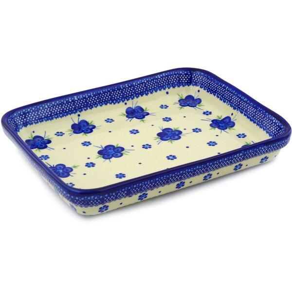 Bleu-belle Fleur Rectangular Non-Stick Polish Pottery Baker by Polmedia