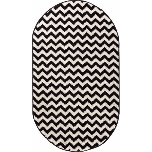 Burgess Chevron Black/White Area Rug by Ebern Designs