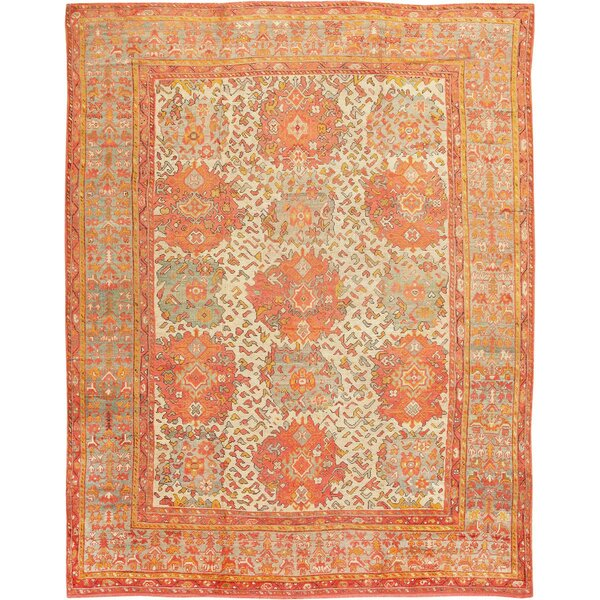 One-of-a-Kind Turkish Hand-Knotted 1900s Red 12' x 16'6 Wool Area Rug
