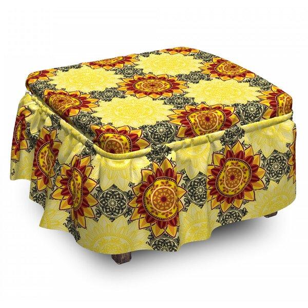 Mandala Vibrant 2 Piece Slipcover Set 2 Piece Box Cushion Ottoman Slipcover Set By East Urban Home