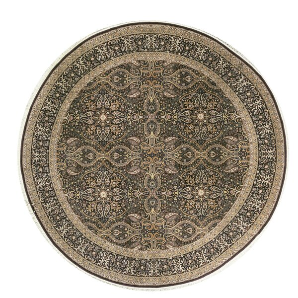 One-of-a-Kind Shah Quality Handwoven Round 10' Wool Beige/Gray Area Rug
