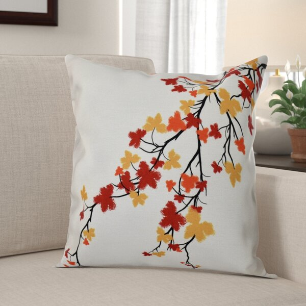 Macaro Maple Hues Flower Print Throw Pillow by Red Barrel Studio