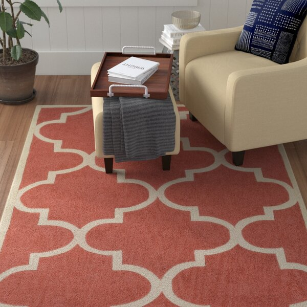 Alfson Hand-Tufted Coral/Ivory Area Rug by Winston Porter