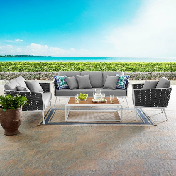 Claremore Stance Outdoor 4 Piece Rattan Sofa Seating Group with Cushions by Brayden Studio