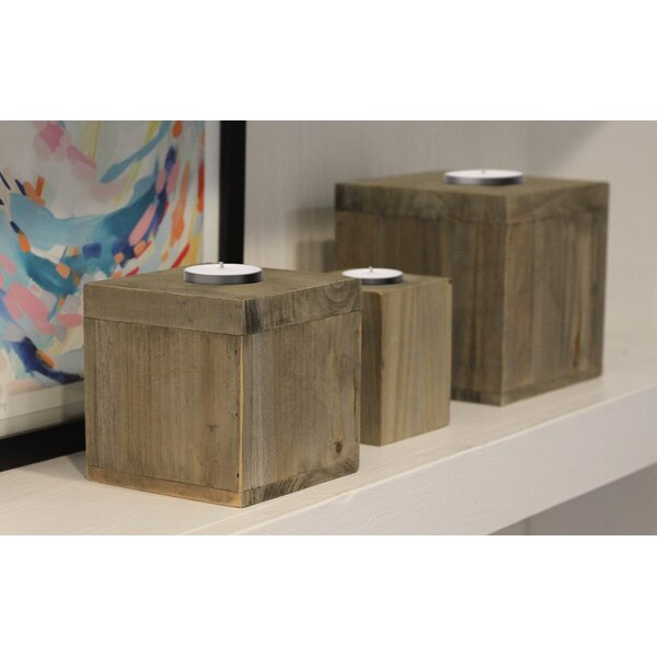 3 Piece Wood Candlestick Set by Crates & Pallet