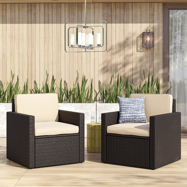 Belton Patio Dining Chair with Cushion (Set of 2) by Mercury Row