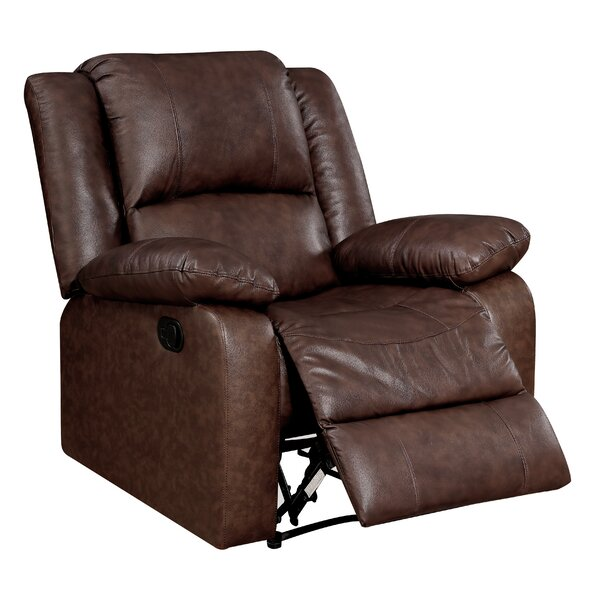 Strouse Leather Manual Glider Recliner Red Barrel Studio RBRS1616