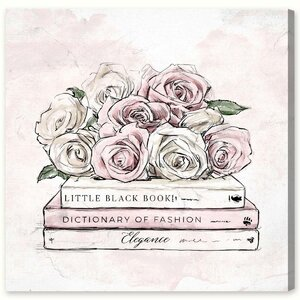 'Roses and Books ' Painting Print on Canvas by House of Hampton