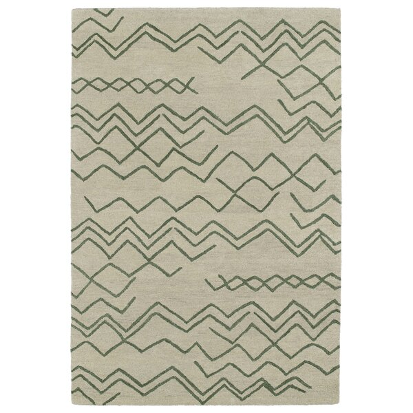 Zack Cream & Green Geometric Area Rug by Wrought Studio