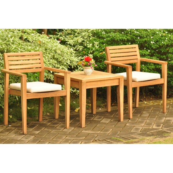Austyn 3 Piece Teak Bistro Set by Rosecliff Heights