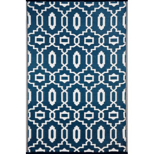 Lightweight Reversible Modern Dark Blue/White Indoor/Outdoor Area Rug by Wildon Home ®