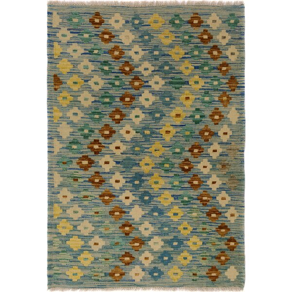One-of-a-Kind Bakerstown Kilim Hand-Woven Wool Blue/Ivory Area Rug by Bloomsbury Market