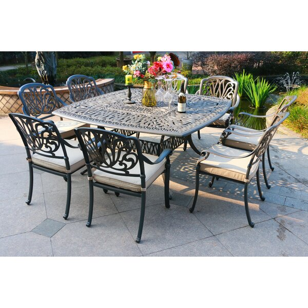 Sciortino Aluminum 9 Piece Sunbrella Dining Set with Sunbrella Cushions by Canora Grey