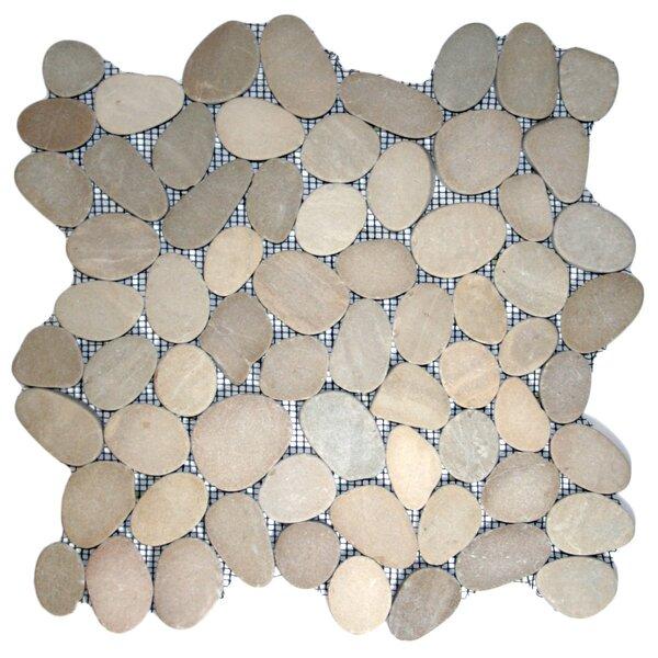 Yangtze Random Sized Natural Stone Mosaic Tile in Tan by CNK Tile
