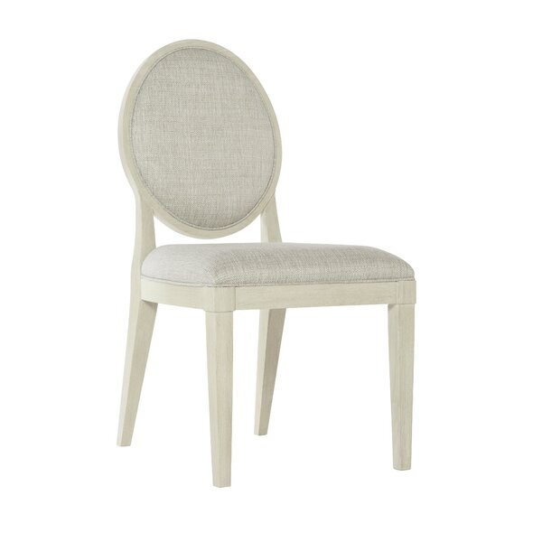 East Hampton Upholstered King Louis Back Side Chair in White by Bernhardt Bernhardt