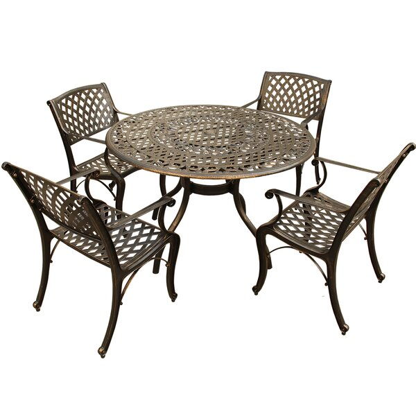 Caspar Traditional Mesh Lattice 5 Piece Dining Set by Fleur De Lis Living