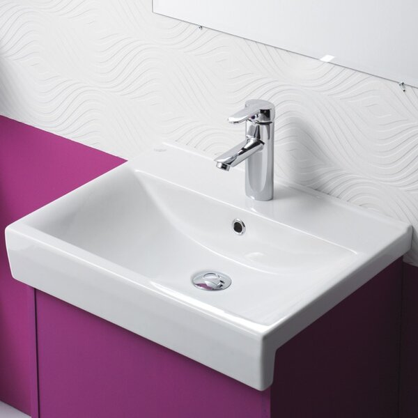 Riva B Ceramic Rectangular Drop-In Bathroom Sink with Overflow by CeraStyle by Nameeks